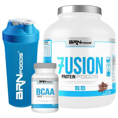 3ec6fd31cc1 Kit Fusion Protein Foods 2kg Chocolate + BCAA Fit Foods 120 Tabletes +  Coqueteleira – BRNFOODS