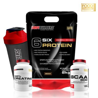8e99a1908 Kit 6 Six Protein 2kg Chocolate + BCAA 800 120 Tabletes + 100% Creatine 100g